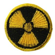 RADIATION HAZARD MOTIF IRON ON EMBROIDERED PATCH APPLIQUE